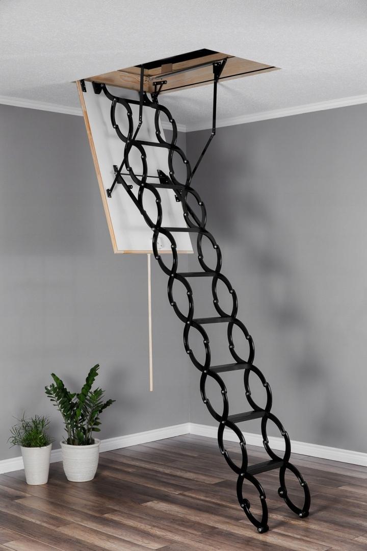 Schody strychowe nożycowe metalowe FLEX 70x60 Maksymalna wysokość schodów 290 cm