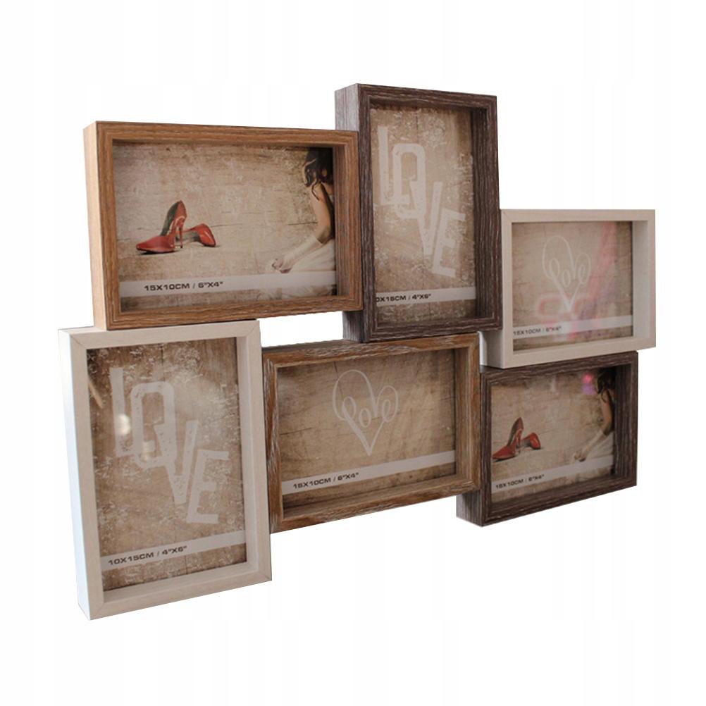6 palcový retro drevený fotorámik 6 otvorený