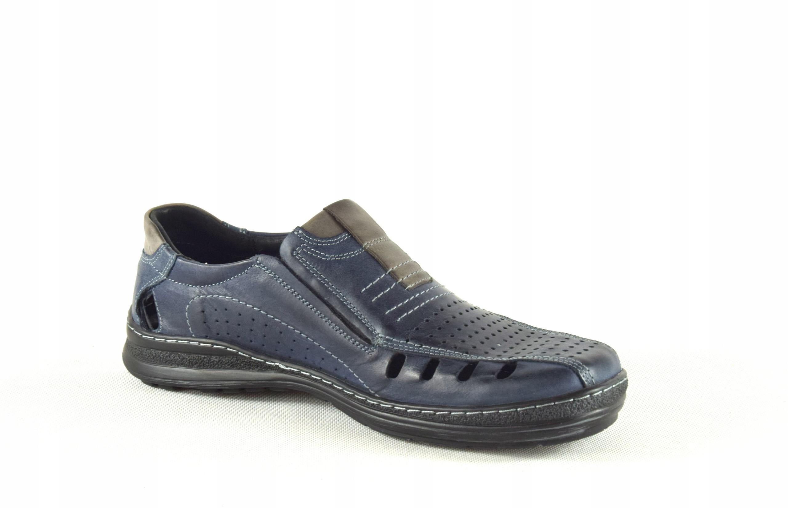 Lekkie dziurkowane męskie buty ze skóry PL 190L Marka inna