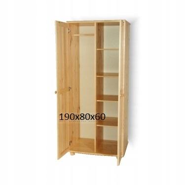 Drewniana szafa sosnowa dwudrzwiowa dzielona półki Marka Inny producent