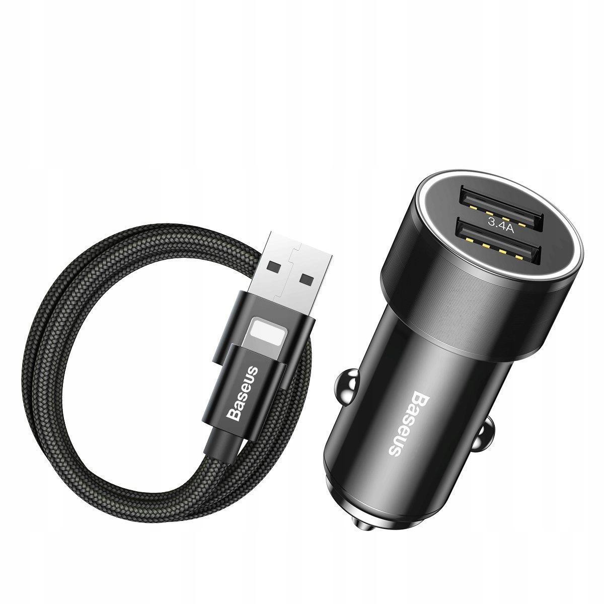 Baseus smart ładowarka 3.4A 2xUSB + kabel iP 1m 2A