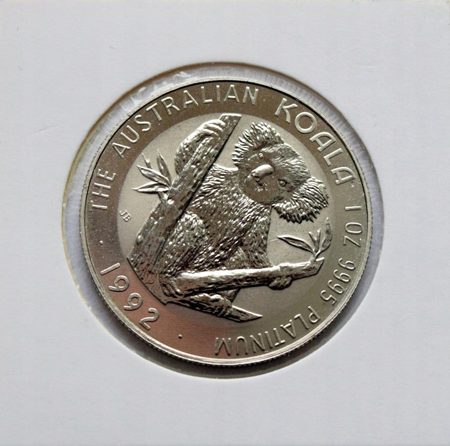 100 dolárov 1992 koala - platinová unca