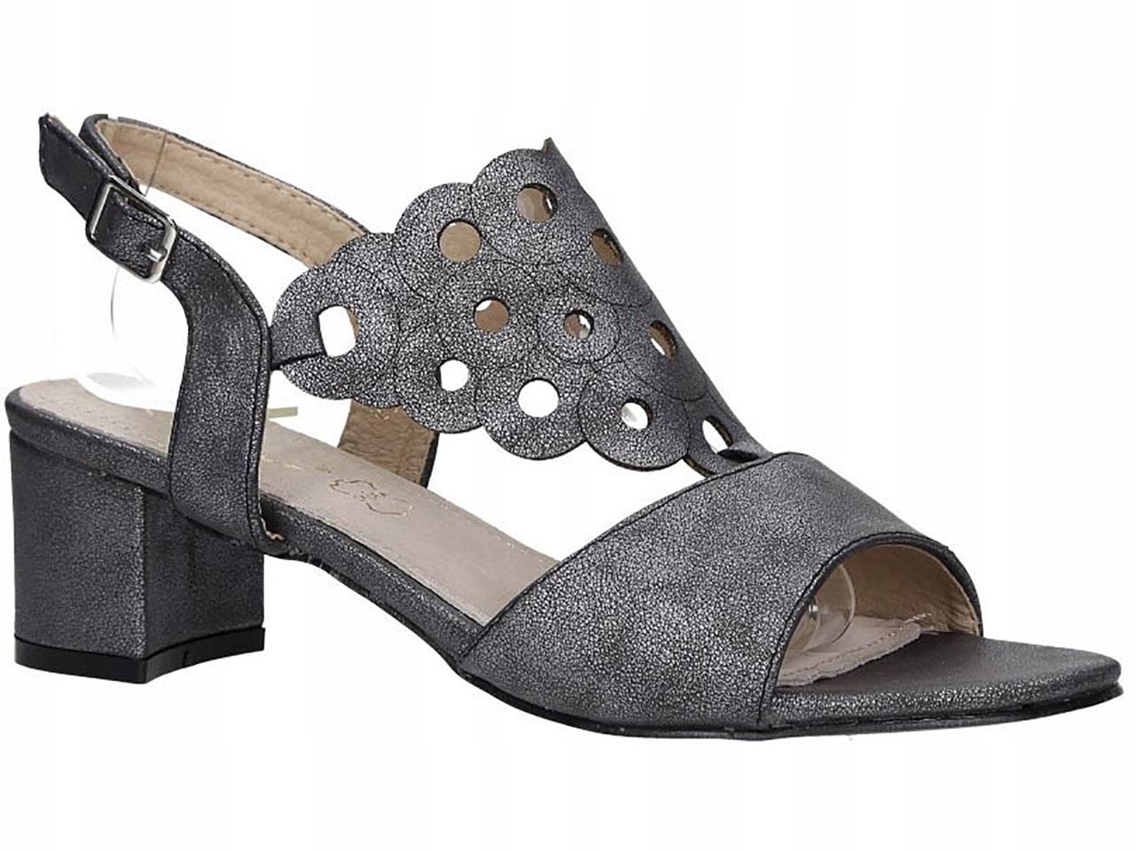 Sandały Na Słupku Niskim Obcasie Ażurowe New r 36