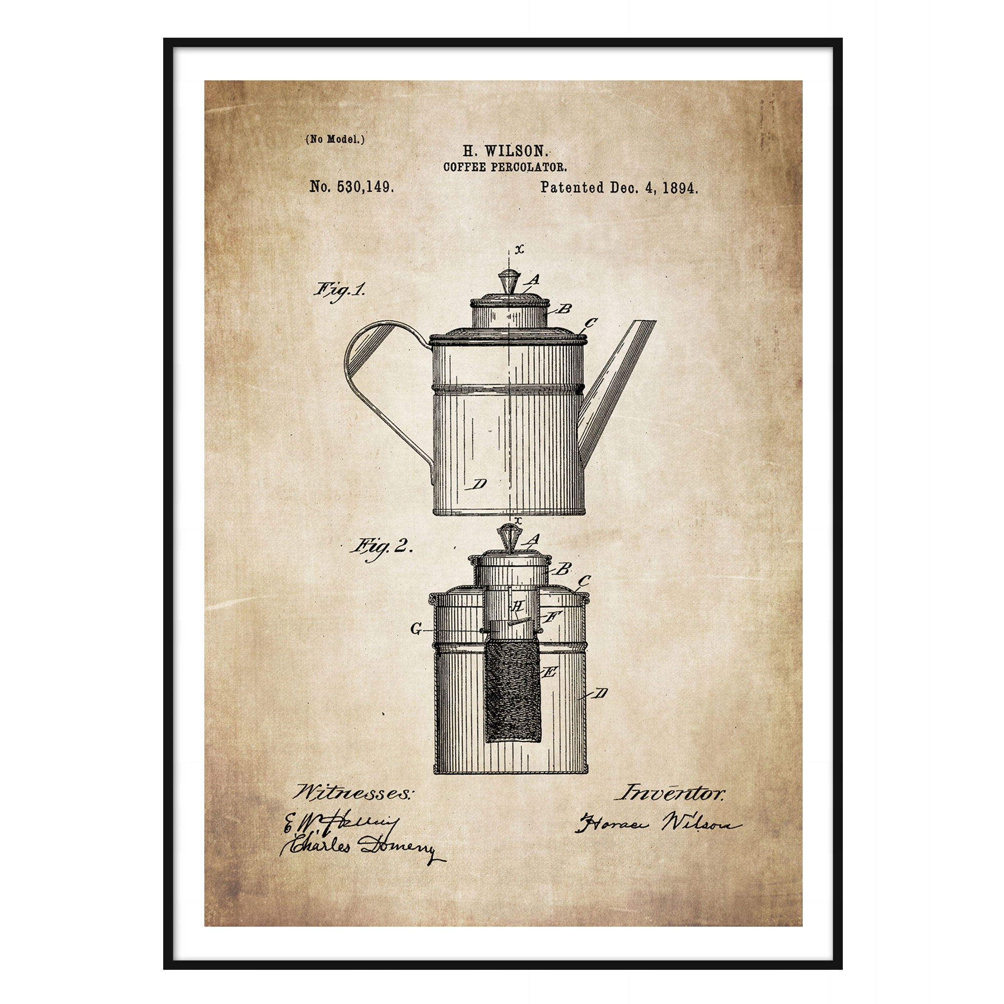 Plagát Percolator Retro Coffee Shop Patent Kitchen