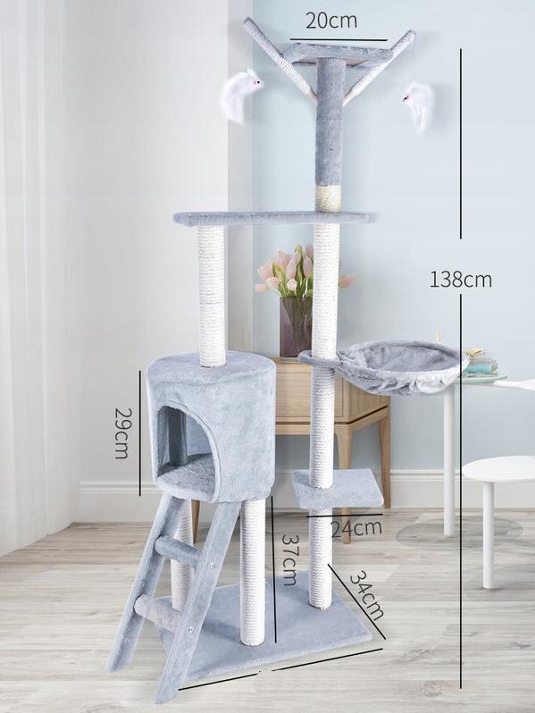 DRAPAK DLA KOTA Zabawka Drzewo DOMEK Myszki 138cm Rodzaj drapak wysoki legowisko słupek do drapania wieża