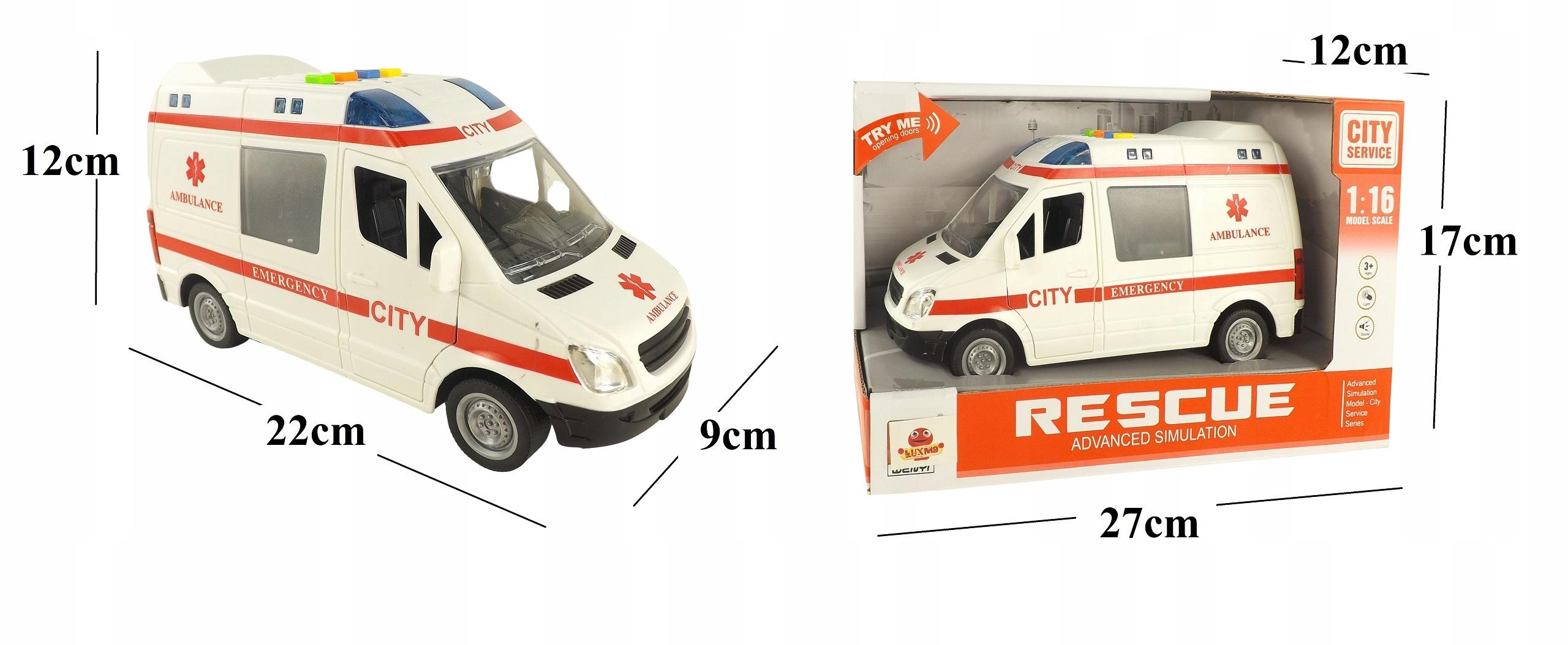 Auto ambulans karetka otwierane drzwi 1:16 WY590A Szerokość produktu 9 cm