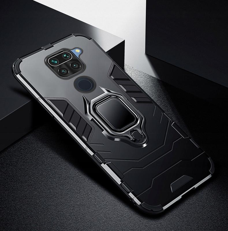 Etui do Xiaomi Redmi Note 9 Pancerne Ring + Szkło Kolor czarny
