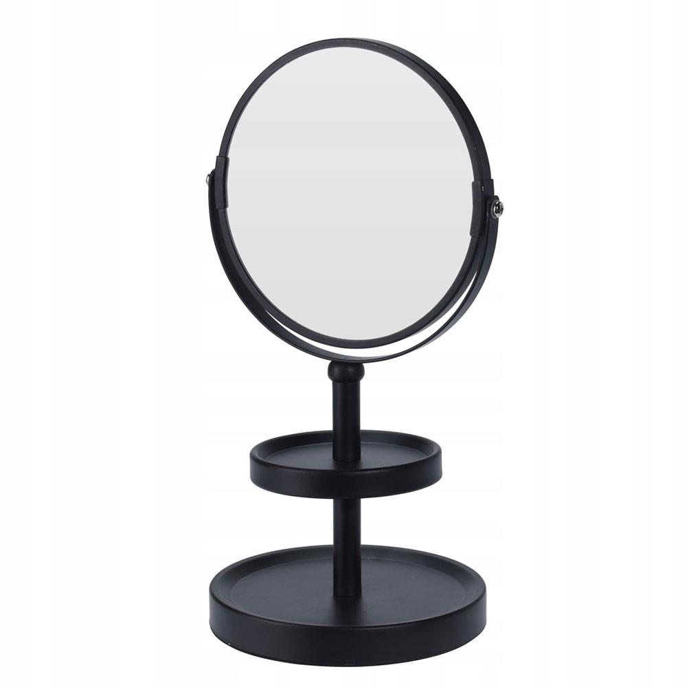 Čierne obojstranné zrkadlo s poličkou