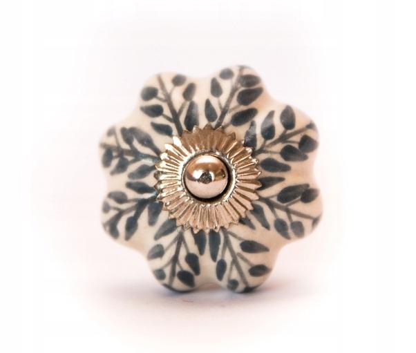 Ручка мебельная из керамики кремового и серого цветов