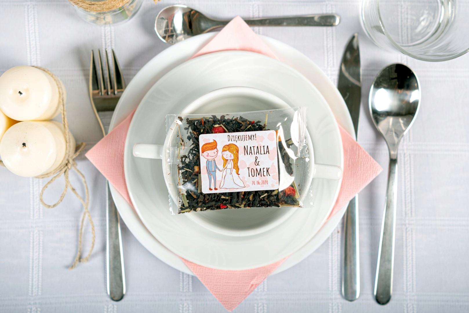 PODZIĘKOWANIE dla GOŚCI saszetki z herbatą WESELE Kolor dominujący wielokolorowy