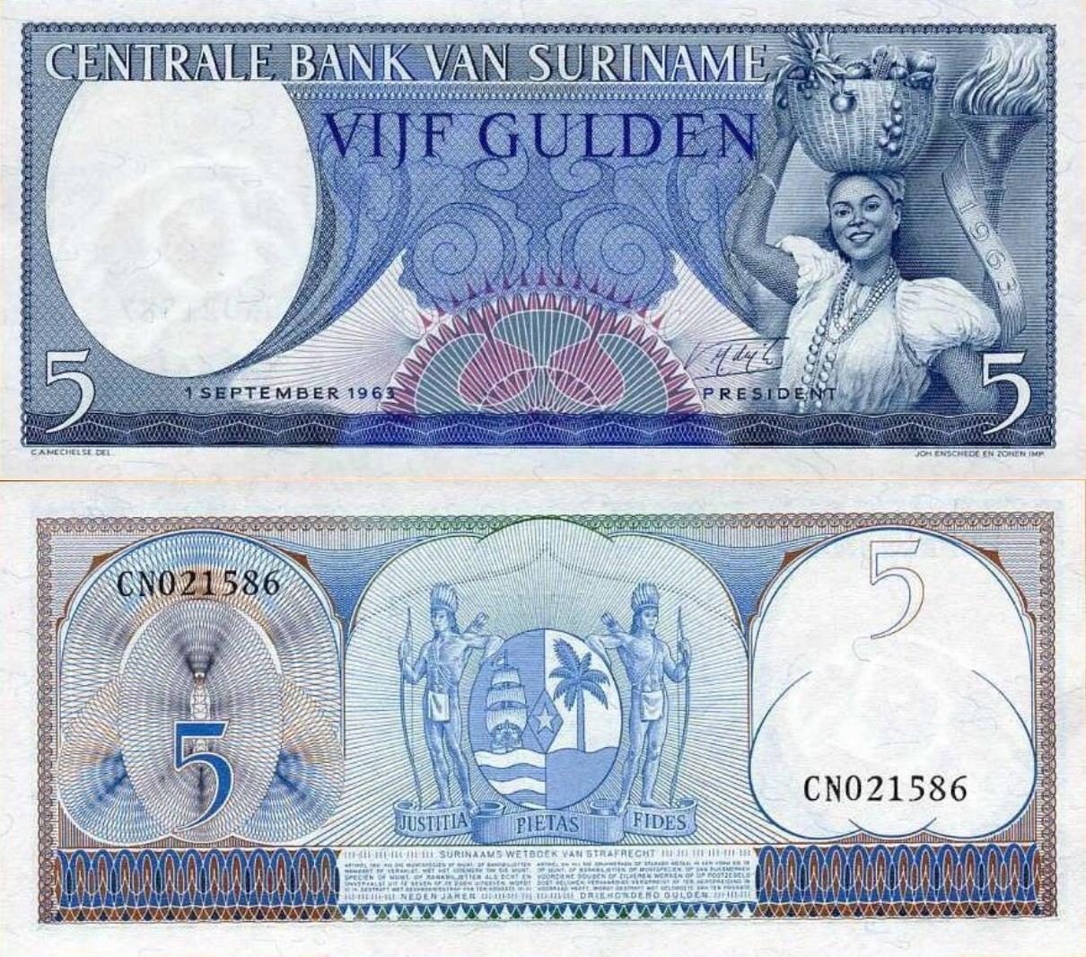# SURINAM - 5 GULDENÓW - 1963 - P-120 - UNC