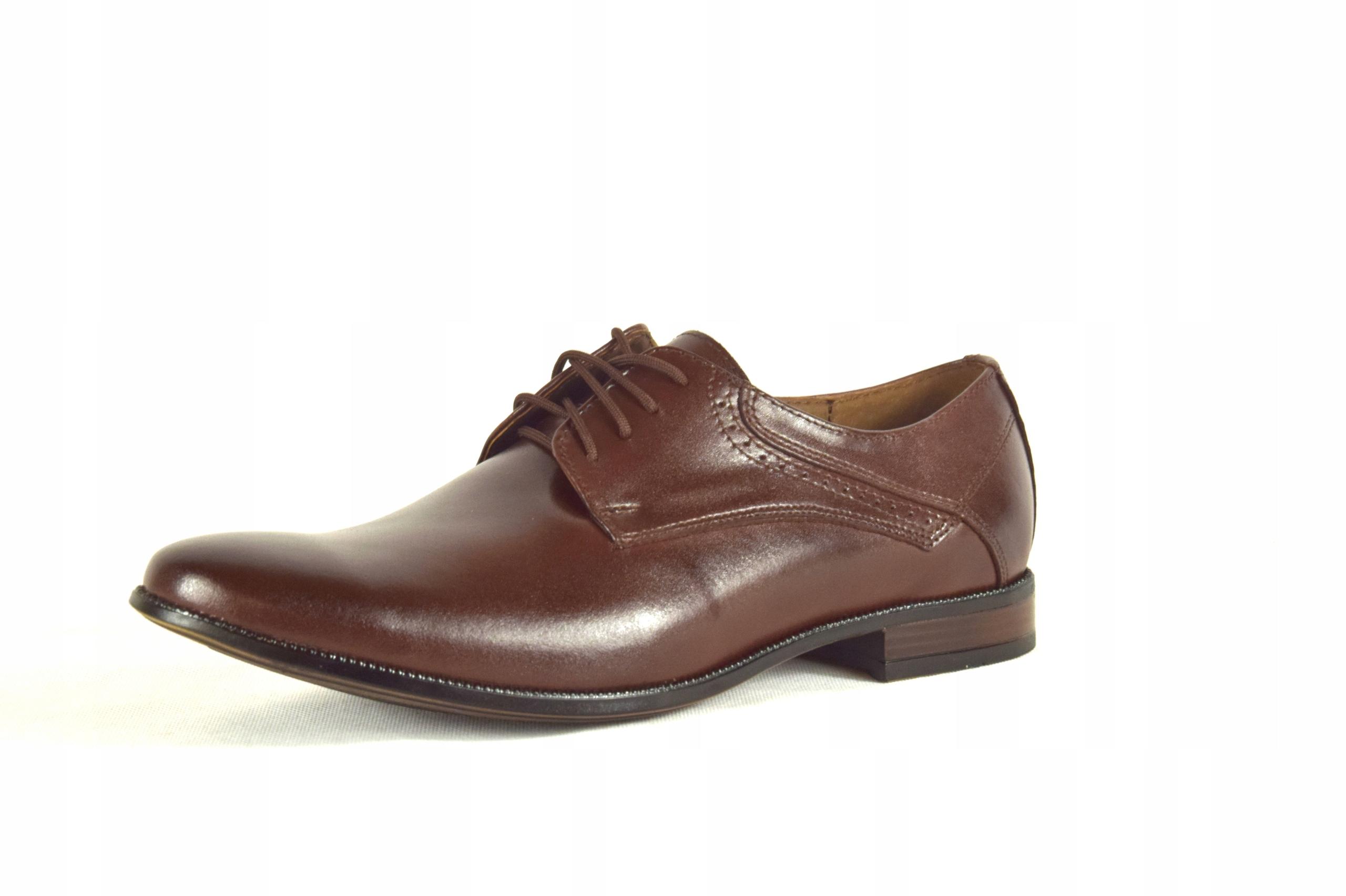 Buty męskie wizytowe skórzane brązowe obuwie 11
