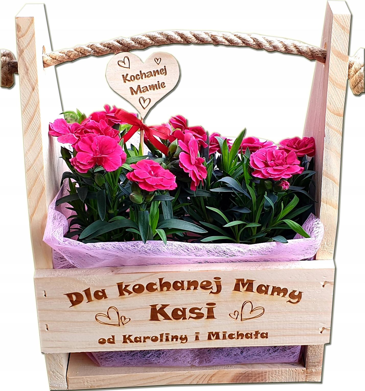 Drewniana DONICZKA prezent na Dzień Matki MAMY