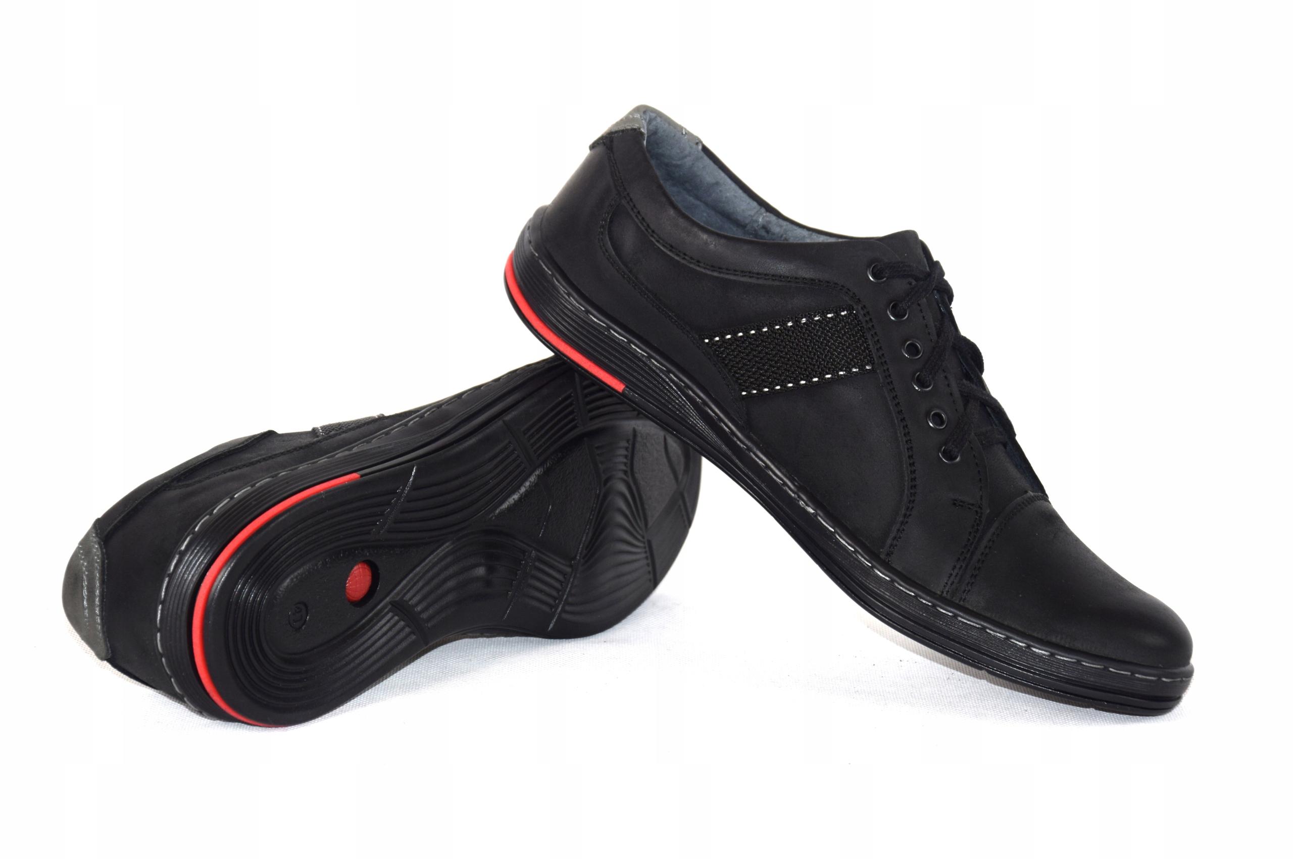 Półbuty czarne trampki skórzane buty polskie A238 Długość wkładki 30 cm