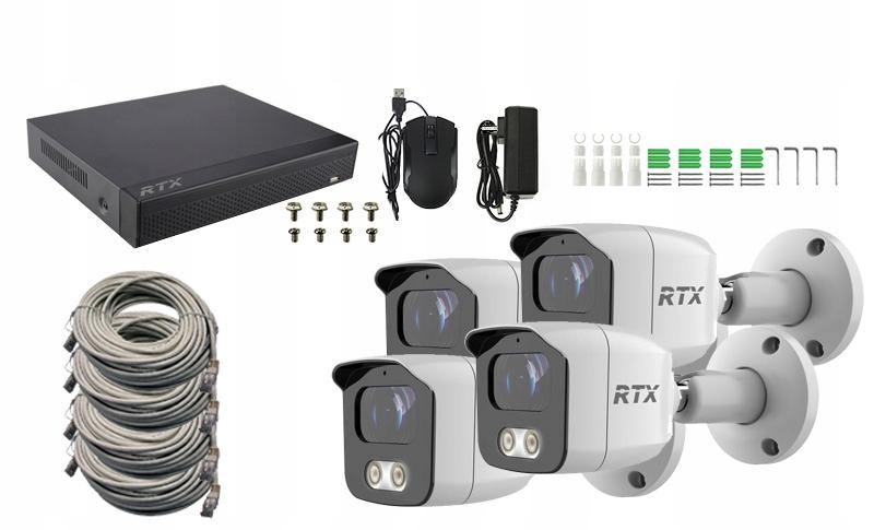 Zestaw Monitoring RTX 4x kamera IP 4Mpx P2P PoE Zasięg podczerwieni 30 m