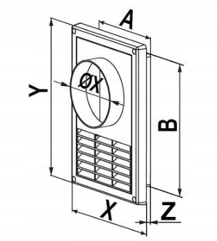 Kratka wentylacyjna z otworem na okap fi 125 T80 Kolor biały