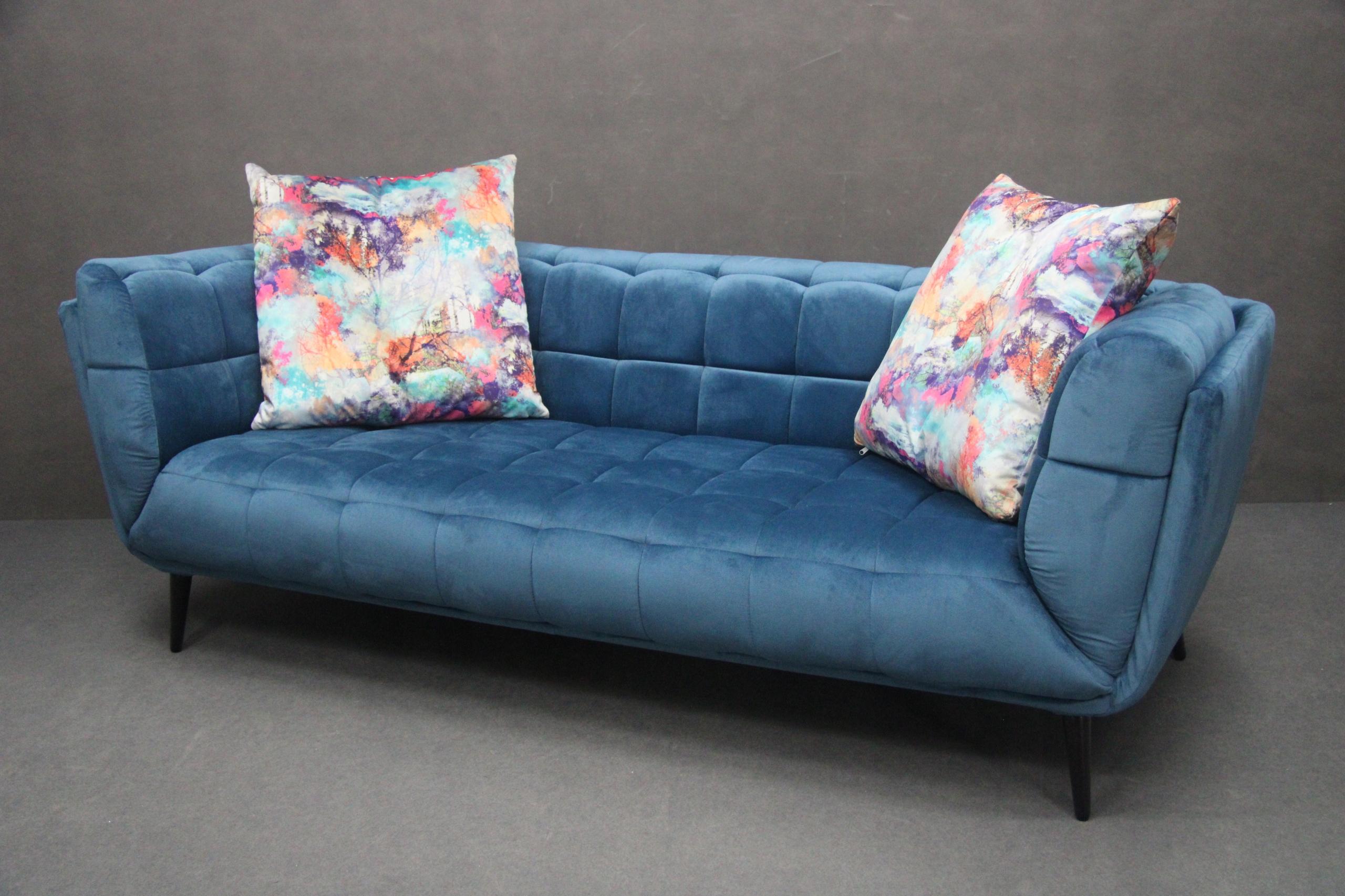 Pohovka Blue Couch RETRO Design prešívaná veľká