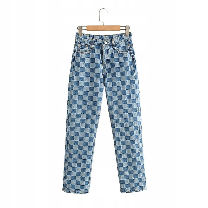 street plaid retro rovné nohavice Dámske nohavice