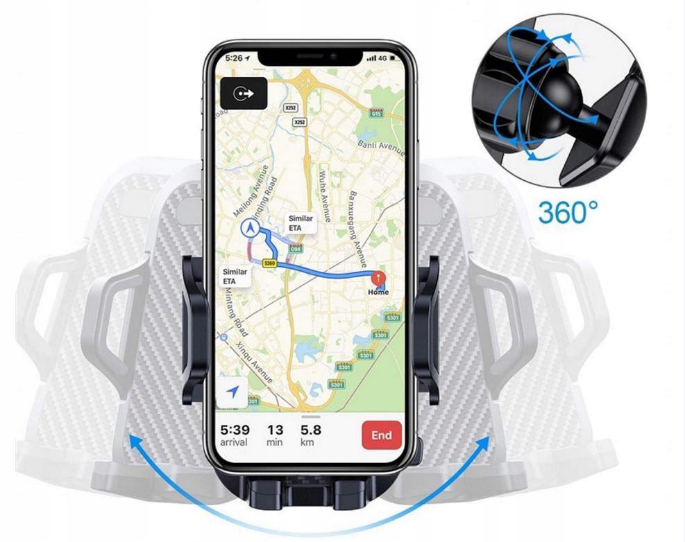 MOCNY Uchwyt Samochodowy na Telefon Szybę Deskę Kolor czarny
