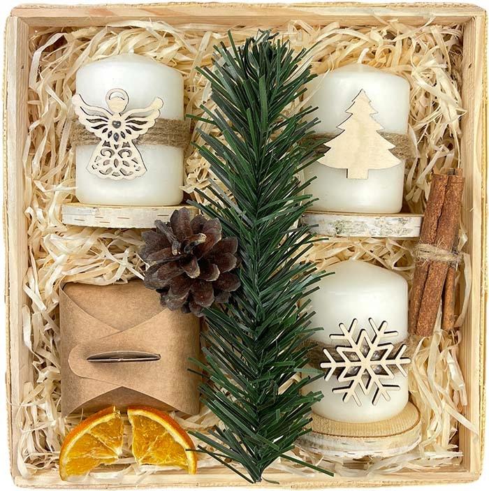 Рождественский подарок КОРЗИНА Рождественские свечи чайные