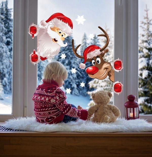 Samolepky Santa a sobia na okno Vianočné samolepky značky 50x35cm Dekoratívne