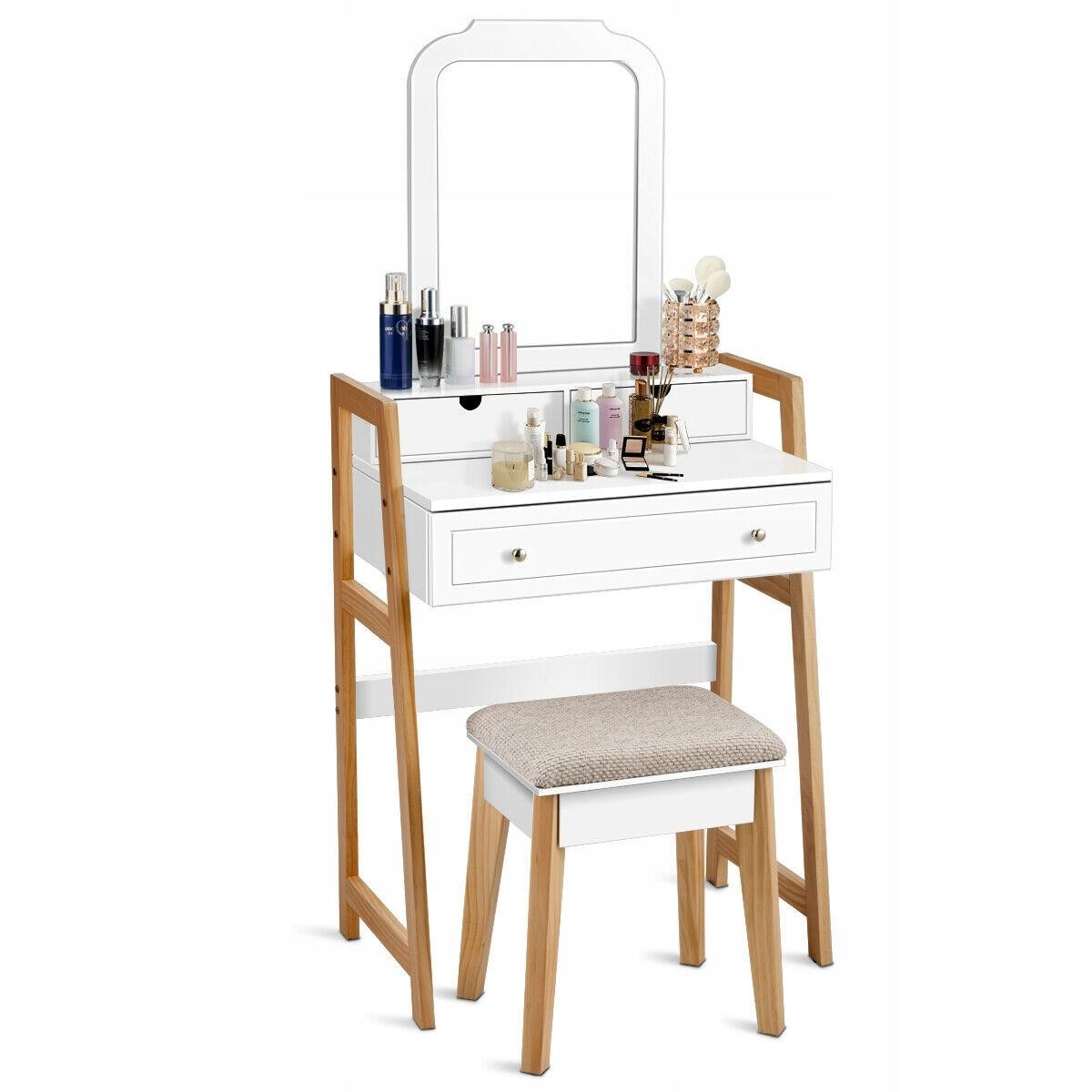 Туалетный столик COSMETIC с зеркалом новый дизайн. Цвет мебели белый.