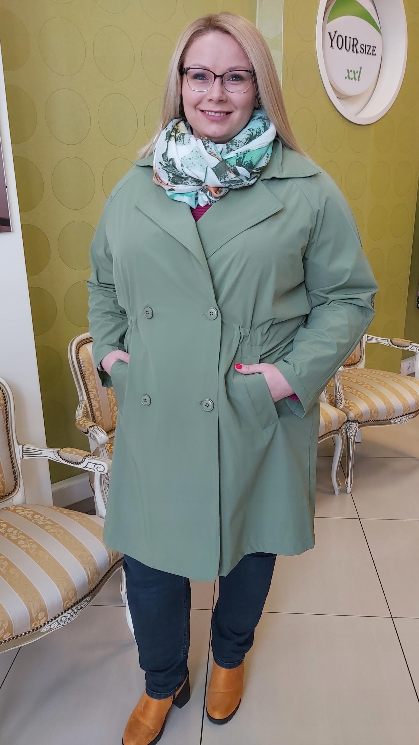 Płaszcz YESTY duże rozmiary ZIELONY TRENCZ 5456