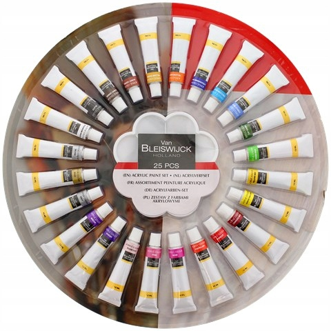 Farby AKRYLOWE zestaw farb 25szt x 12ml + GRATIS