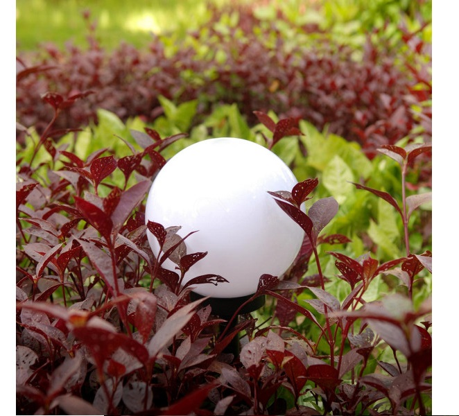 Lampa SOLARNA LED ogrodowa solar KULA 10 cm RGB Długość wbijanego grota 26 cm