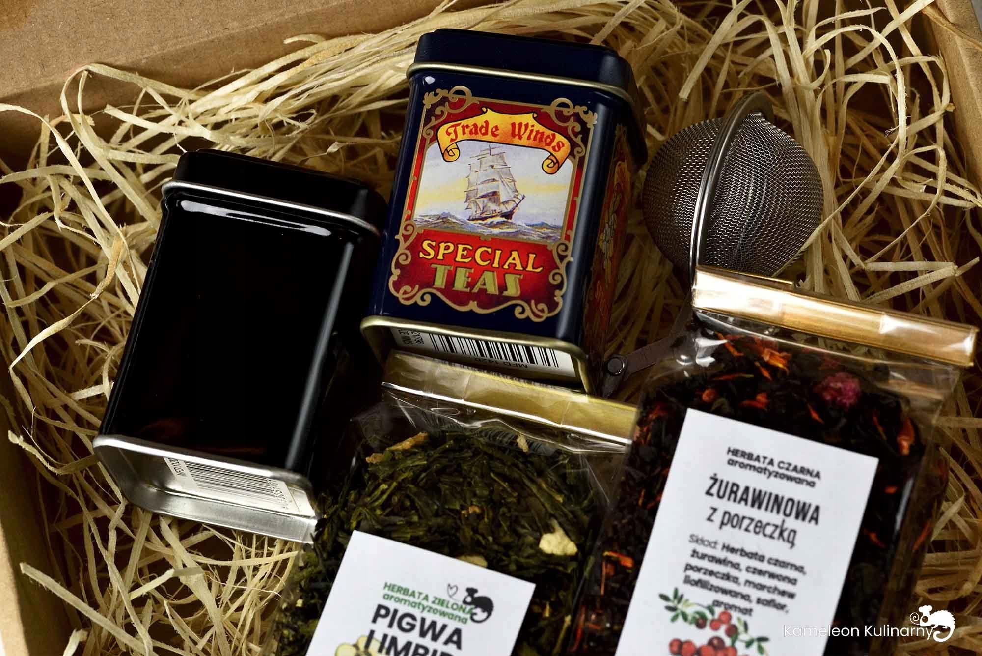 ZESTAW PREZENTOWY 2 herbaty 2 puszki i zaparzacz EAN 5904119220302