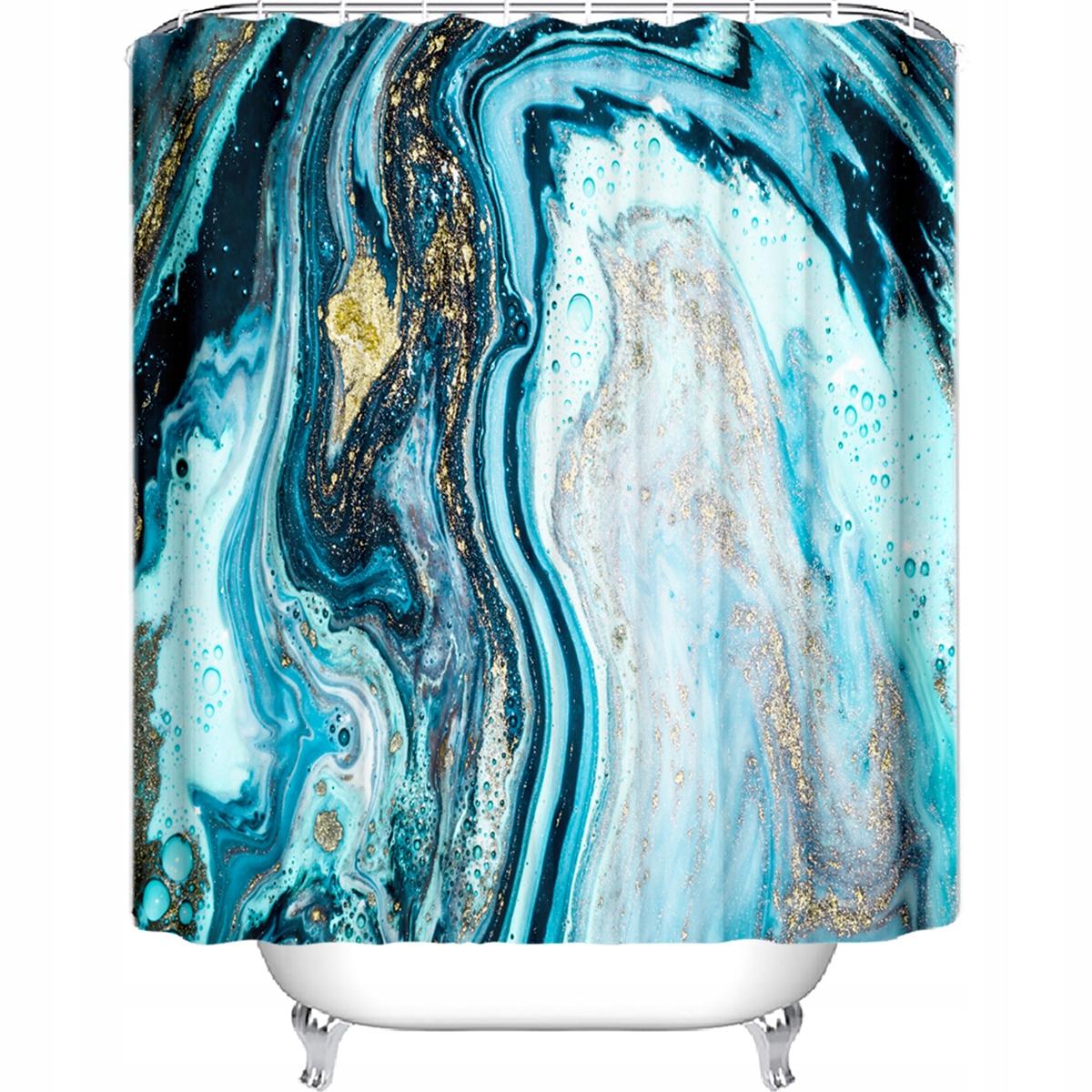 Sprchový záves mramorové modré zlato 180x200