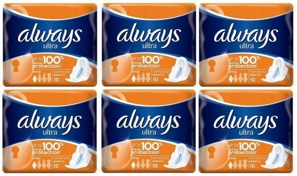 Гигиенические прокладки ALWAYS ULTRA NORMAL PLUS (10 шт.) x 6