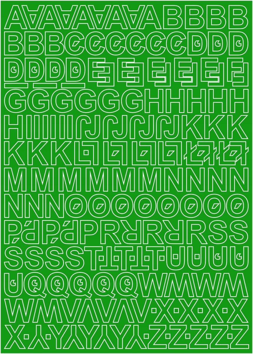 Клейкие буквы 3см лист зеленый 225 знаков