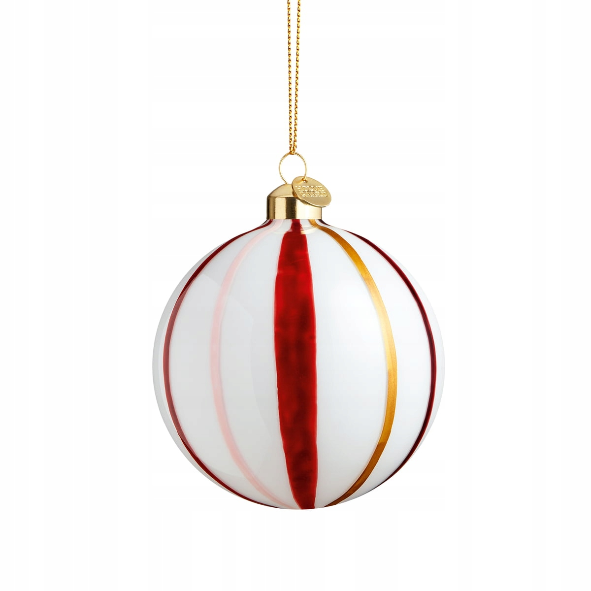Holmegaard SOUVENIR Stripes Červená guľa na vianočný stromček