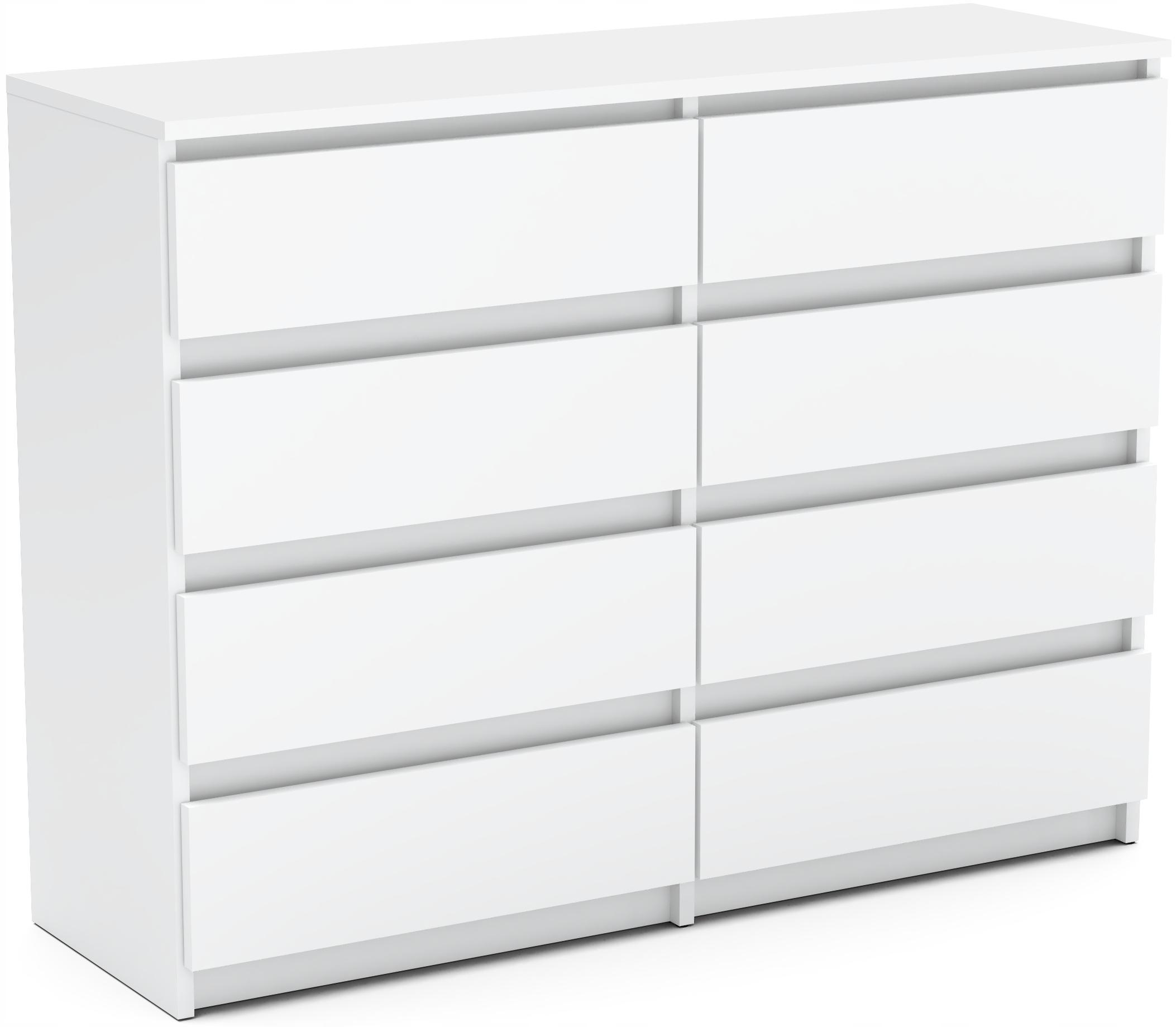 NOWOCZESNA Komoda 120cm 8 szuflad szafka BIAŁY MAT