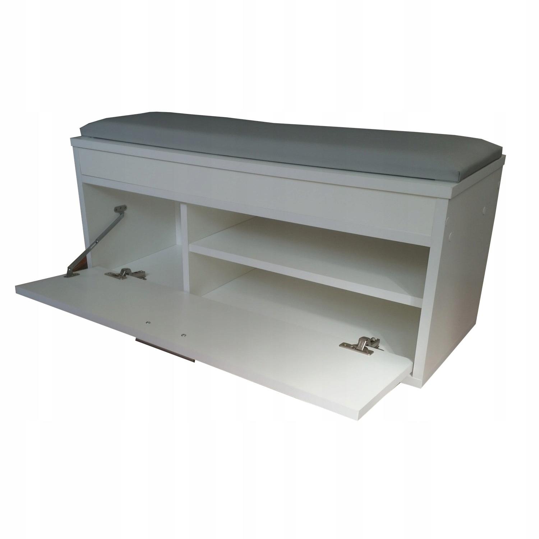 Topánky stojan s seat a úložný priestor 75 cm biela
