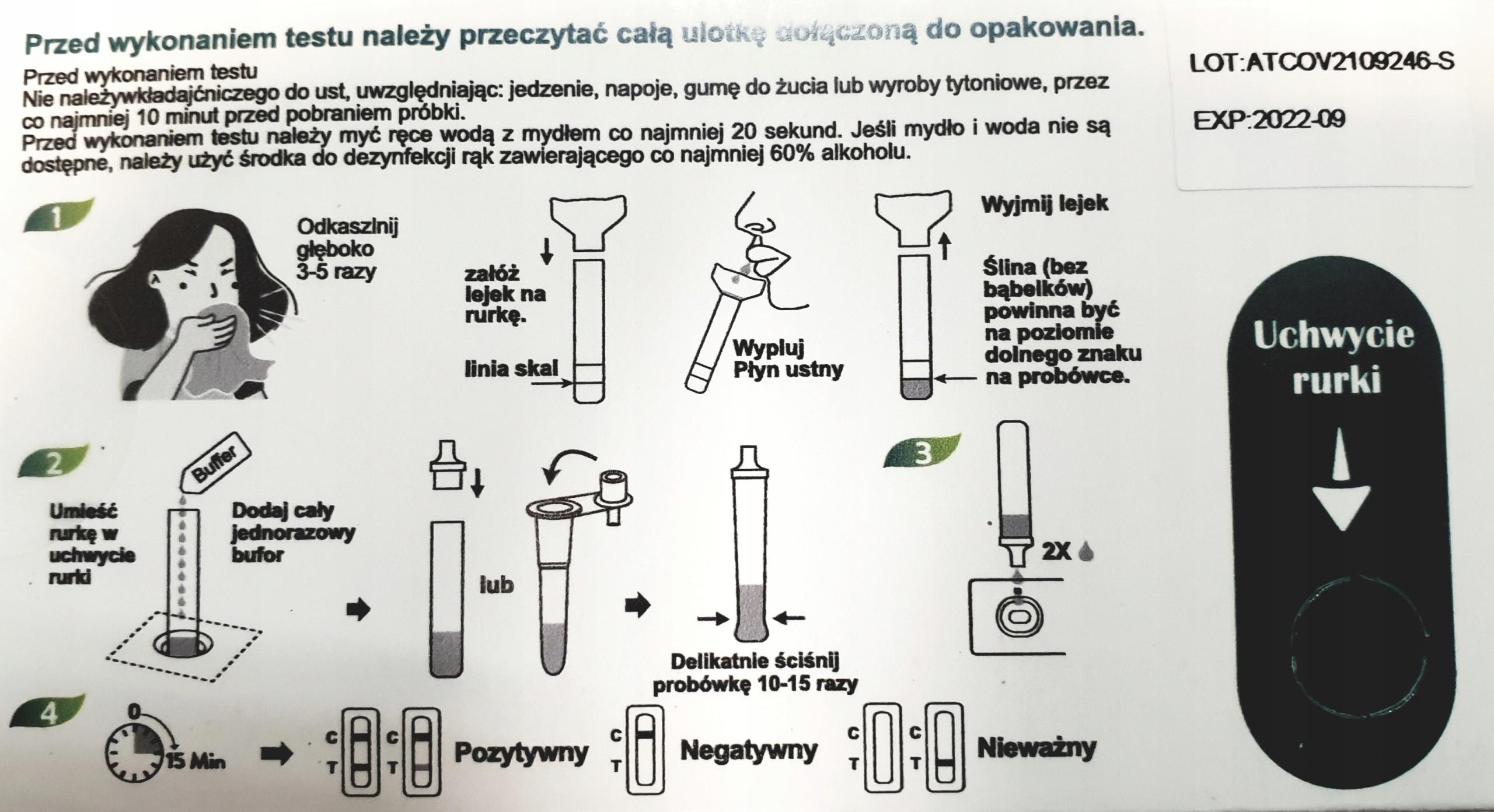 BERIGHT SZYBKI TEST ANTYGENOWY C-19 ŚLINA LEGALNY EAN 6970277517119