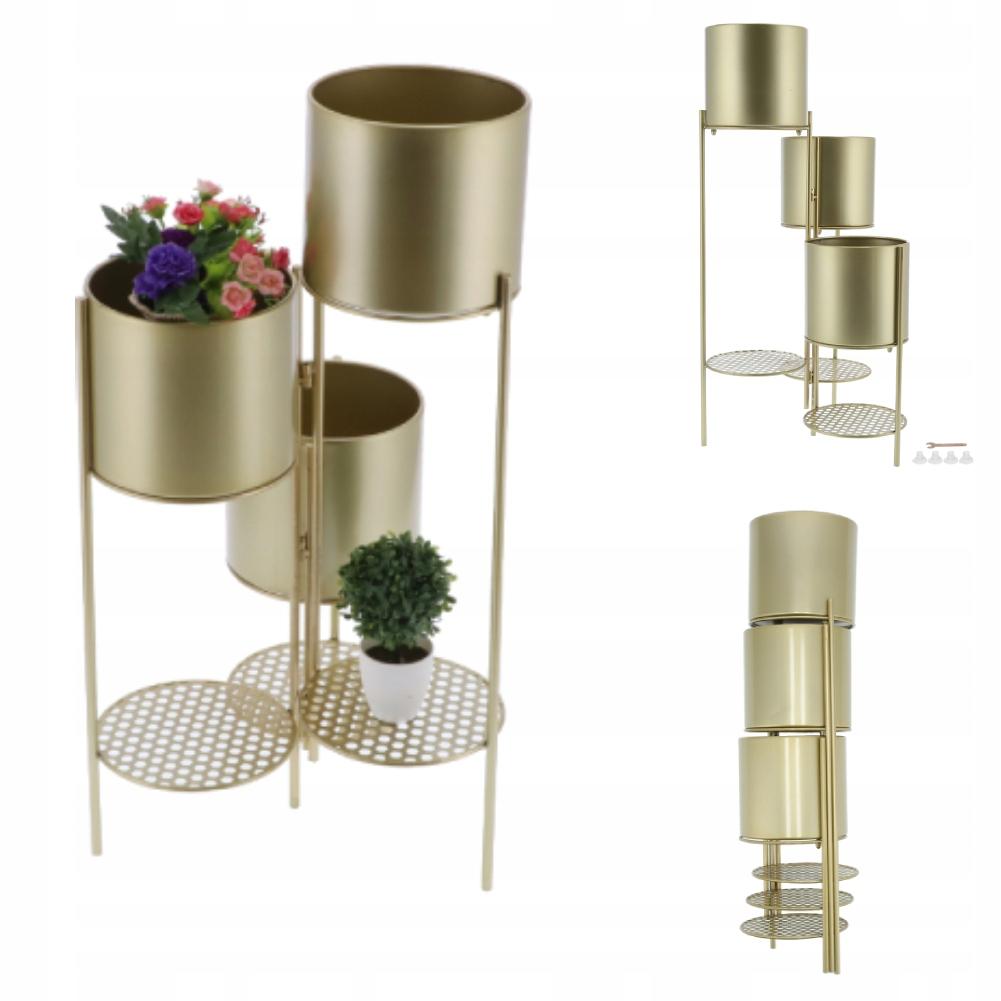 Цветочный горшок Подставка для цветочного горшка gold 6 pots