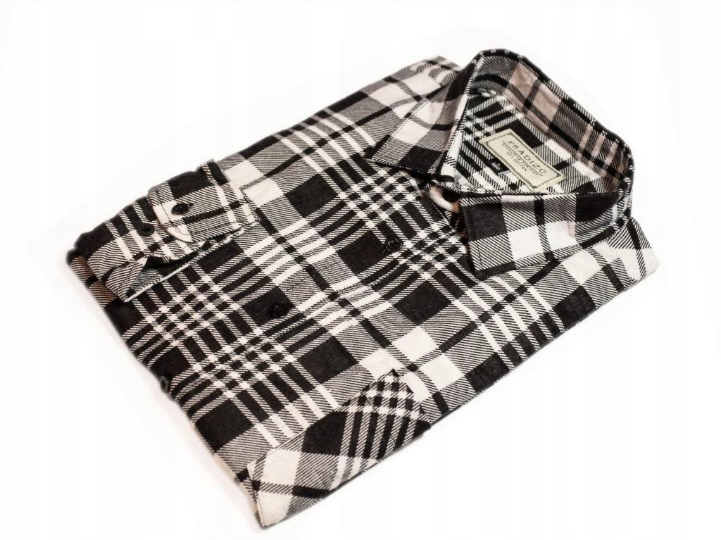 4748 Duża koszula flanelowa w biało czarną kratę 8551645038  DUCJq