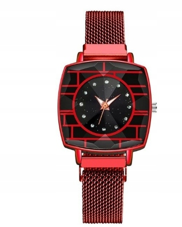 retro štvorcové náramkové hodinky - červená