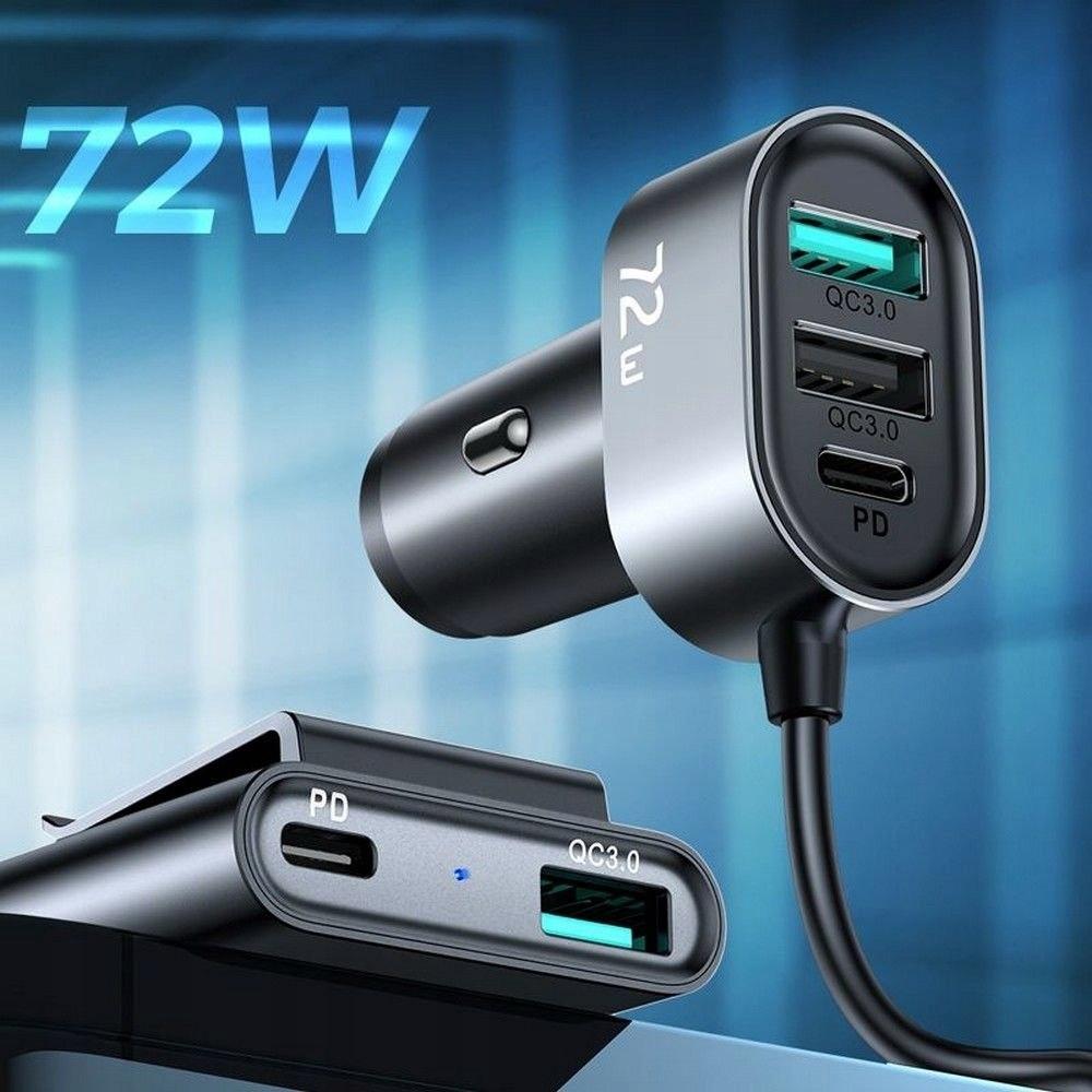 Ładowarka Samochodowa 72W 5-portów USB (JR-CL05) Kolor czarny