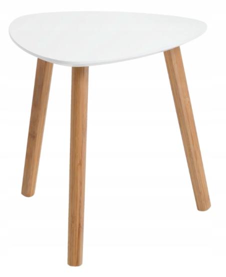Stolik kawowy biały skandynawski bambus 40x40 PRL