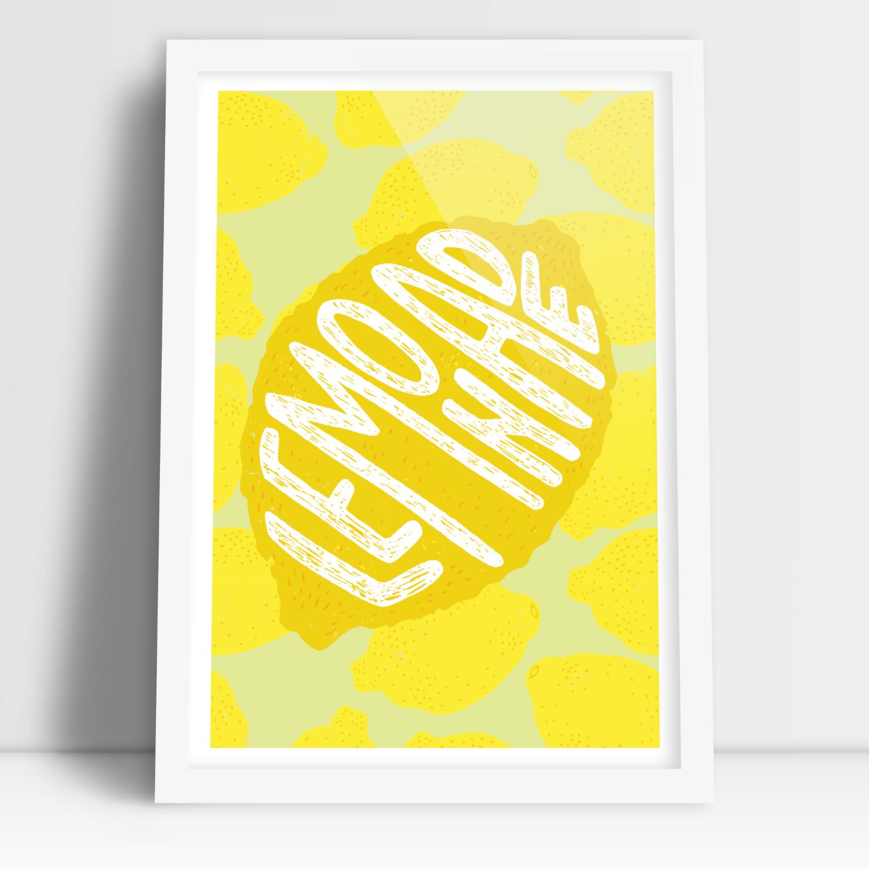 Забавный лимонный лимонный плакат в рамке А3