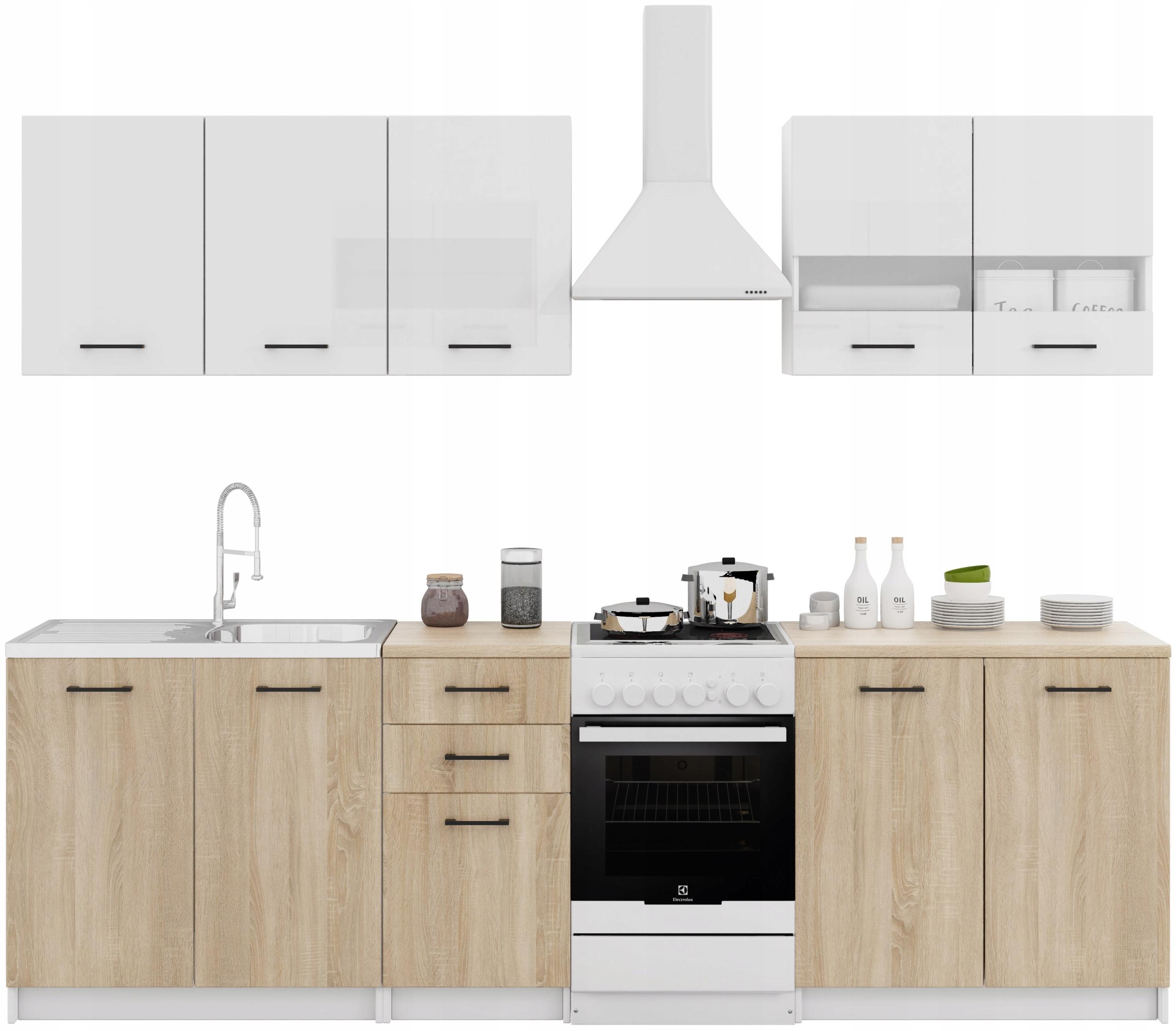 Sada kuchynského nábytku s doskami Kuchynský dubový lak
