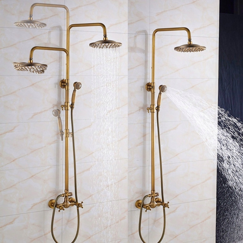 SPRCHOVÁ BATÉRIA retro mosadzná sprchová hlavica GOLD