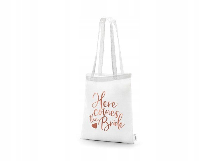 Item Bag of cotton-Here comes the bride,white,39x42cm