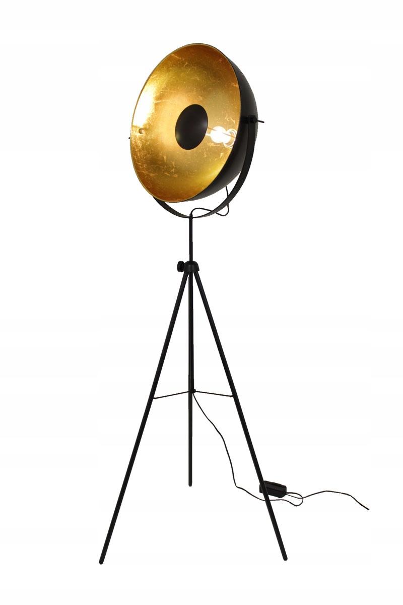 Retro veľká Alona čierna a zlatá podlahová lampa