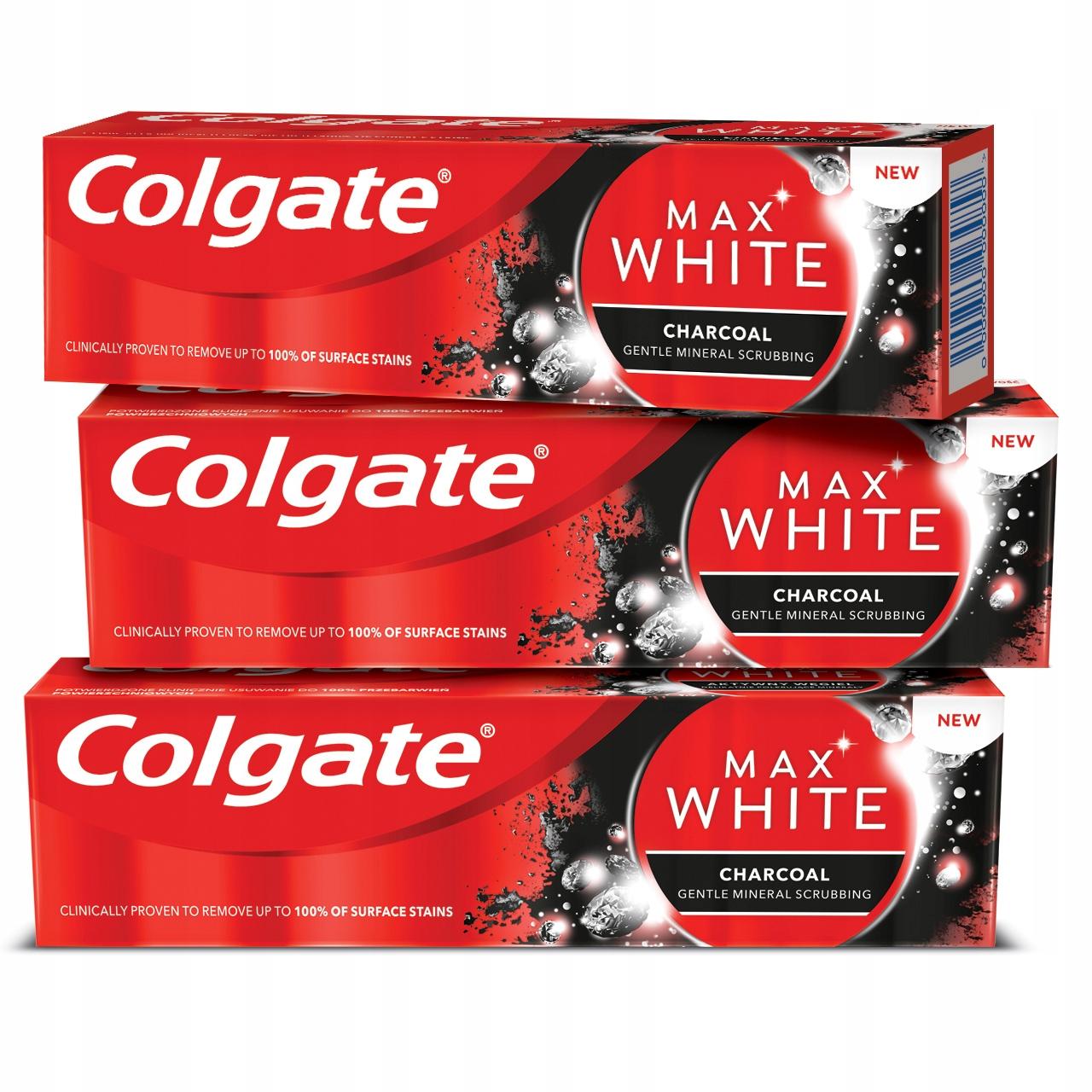 Зубная паста COLGATE MAX WHITE с древесным углем 3x75 мл