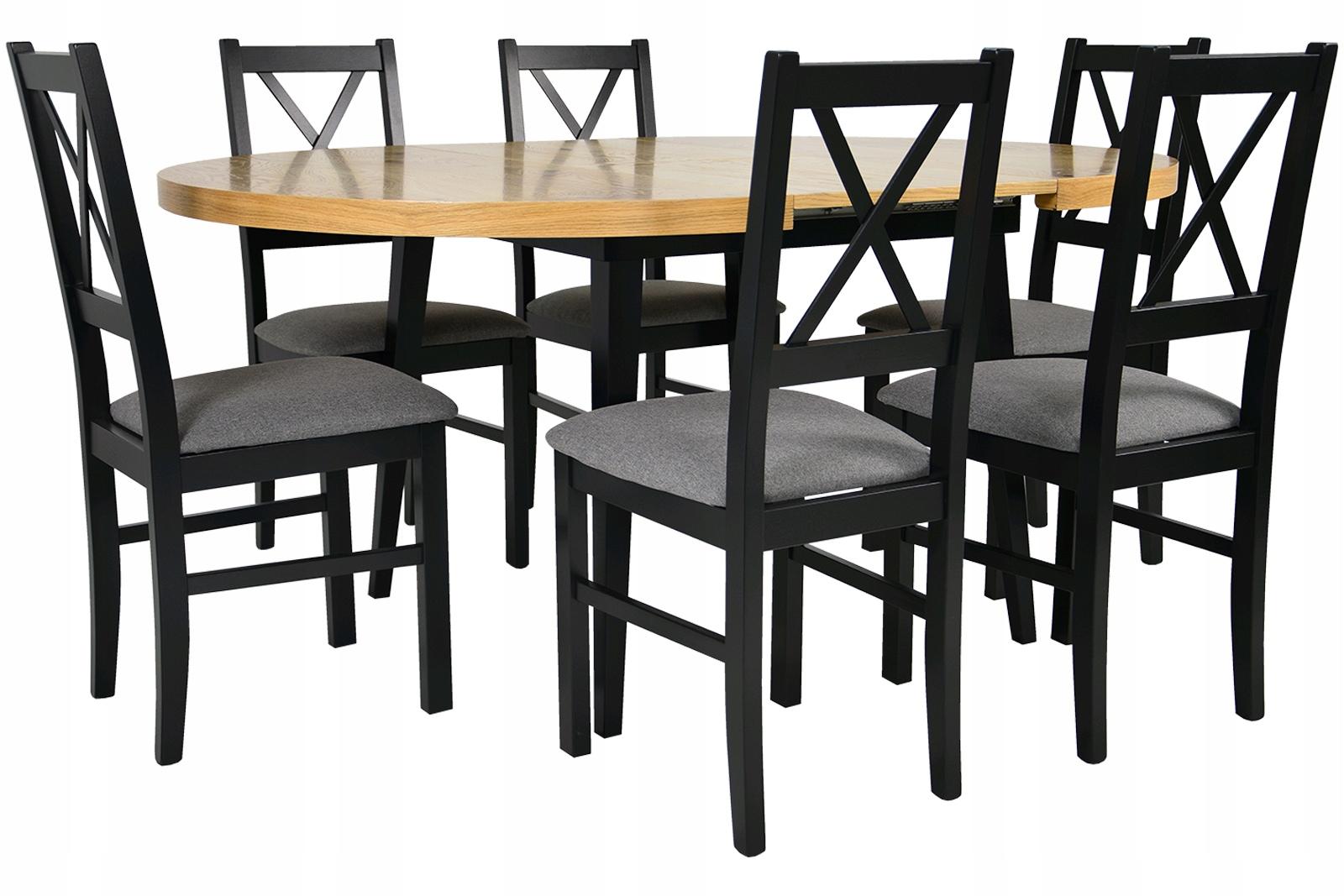 120/165 stôl so 6 stoličkami dubového DREVA dosky