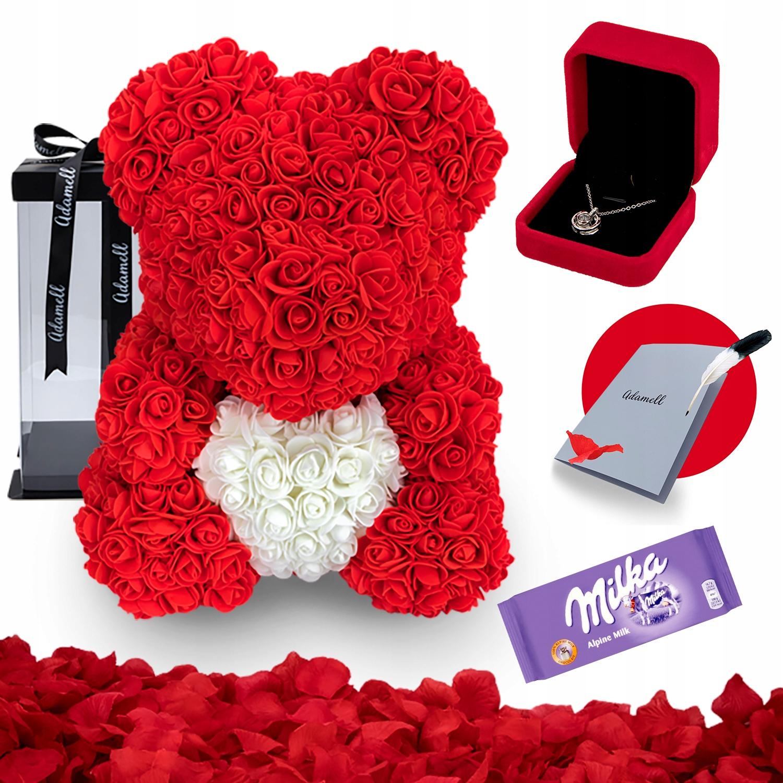 Miś z Róż 40 cm Czerwony Z Sercem Pudełko Gratis